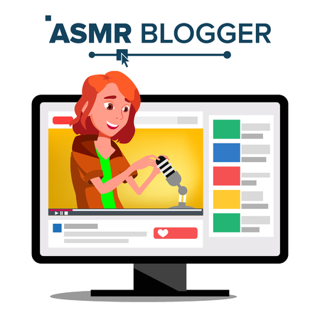 ASMR Blogger Channel Vector. Teen. Whisper. Online Live Broadcast. Isolated Illustration