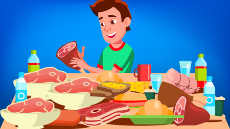 Mukbang Eating Show Vector. Guy. Food Challenge. Video Blog Channel. Illustration