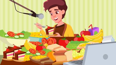 Mukbang Eating Show vettore. Ragazza. Spettacolo di cibo. Registrazione. Trasmissione in diretta online. Social media asiatici. Illustrazione