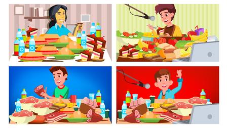Mukbang Eating Show Vector. Girl, Guy. Eating Show. Recording. Online Live Broadcast. Asian Social Media. Cooking Food. Korean Illustration