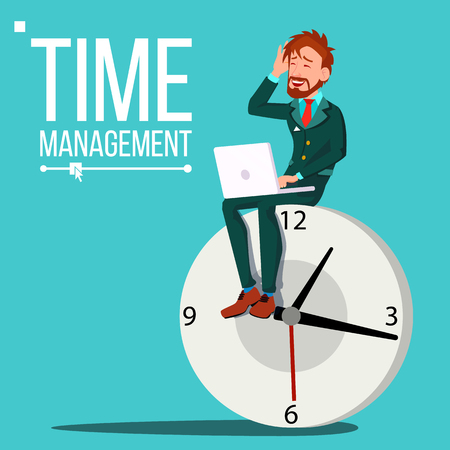 Time Management Man Vector. Organization Of Work Process. Free Time. Business Illustration