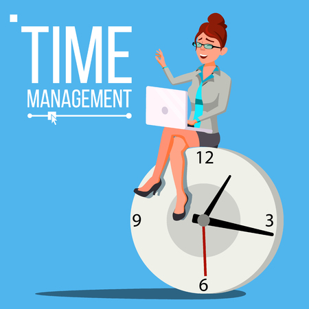 Time Management Woman Vector. Management. Organization Of Work Process. Business Illustration