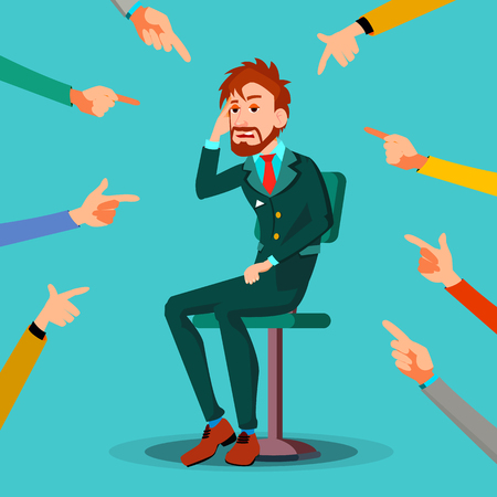 Victim Businessman Vector. Quilt Accusation. Frustrated Employee. A Lot Of Hands With Pointing Finger. Illustration Illustration