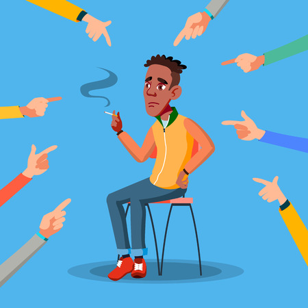 Victim Afro American Teen Vector. Depressed Person. Guilty, Ashamed. Hand Pointing Finger. Illustration