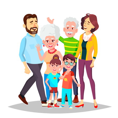 Family Portrait Vector. Big Happy Family. Traditional. Parents, Grandparents, Children. Colorful Design Isolated Cartoon Illustration
