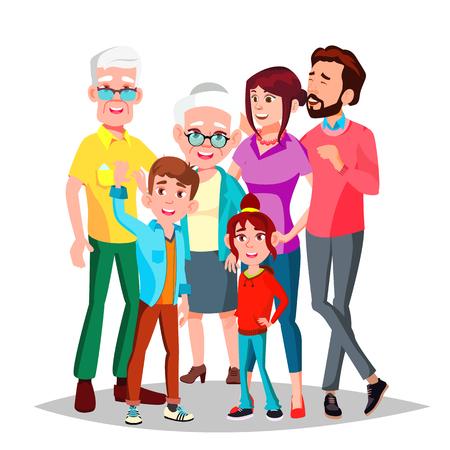 Vettore di famiglia. Famiglia completa. Ritratto. Papà, madre, bambini, nonni Poster pubblicitario modello isolato Cartoon illustrazione Vettoriali