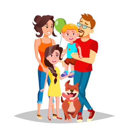Family Vector. Mom, Dad, Children Together. In Santa Hats. Full Family. Decoration Element Isolated Cartoon Illustration