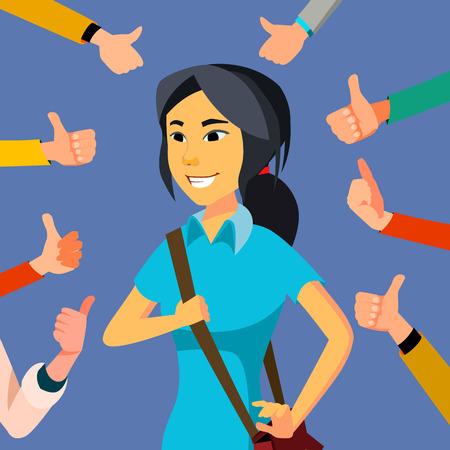 Thumbs Up zakenvrouw Vector. Publieke goedkeuring. Aziatische werknemer. Omringde handen. Zakelijke illustratie