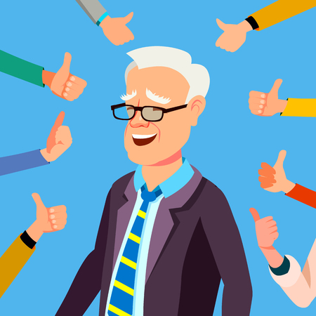 Thumbs Up Businessman Vector. Professional Office Worker. Public Respect Show Approval Gesture. Business Illustration
