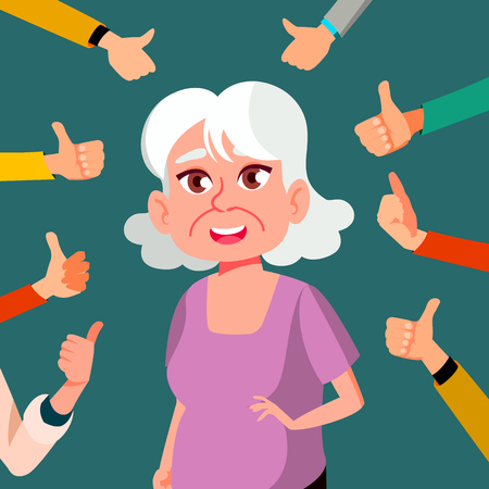 Thumbs Up Old Woman Vector. Public Approval. A Lot Of Hands. Shows Gesture Business Illustration