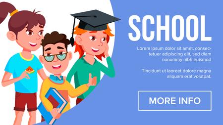 School Eduacation Banner Vector. Multiracial Children. Advertising Brochure. Pupils Illustration Ilustração