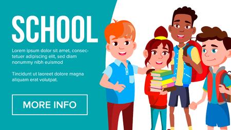 School Eduacation Banner Vector. Multiracial Children. Advertising Brochure. Pupils. Illustration