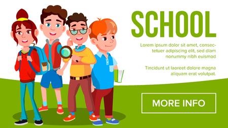 School Eduacation Banner Vector. Girls, Boys Student Smiling. Poster, Website, Invitation. Pupils. Illustration