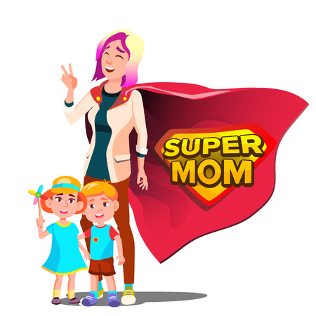 Super Mom Vector. Mothers Day. Shield Badge. Isolated Flat Cartoon Illudtration