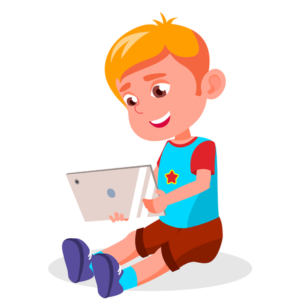 Children s Gadget Dependence Vector. Internet Addiction. Watching Video, Playing Game. Modern Technologies. Isolated Illustration