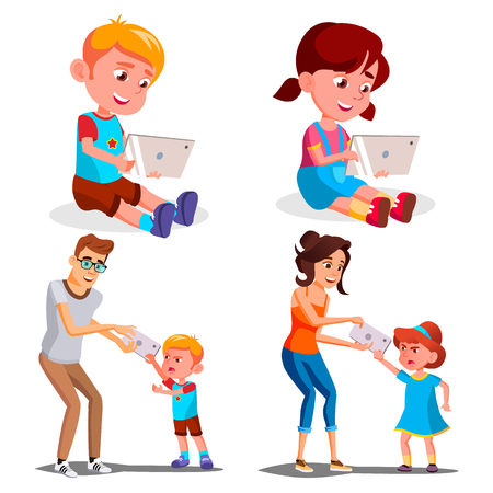 Children s Gadget Dependence Vector. Father, Mother Takes Smartphone From Daughter. Internet Addiction. Modern Technologies. Isolated Cartoon Illustration Stock Photo