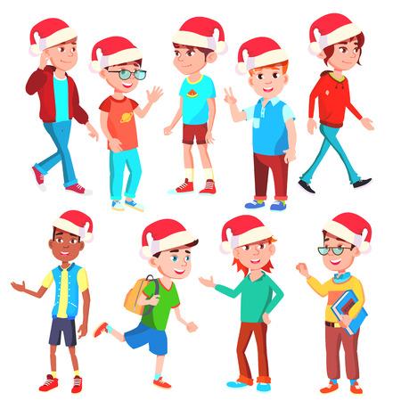 Christmas Children Set Vector. Boys And Girls. Santa Hat. Holiday. Isolated Cartoon Illustration