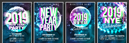 2019 Party Flyer Poster Set Vector. Night Club Celebration. Musical Concert Banner. Happy New Year. Celebration Template. Background. Christmas Disco Light. Design Illustration