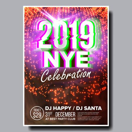 Vector de cartel de volante de fiesta 2019. Feliz Año Nuevo. Invitación de vacaciones. Luz de discoteca de Navidad. Ilustración de diseño