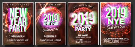 2019 Party Flyer Poster Set Vector. Night Club Celebration. Musical Concert Banner. New Year. Celebration Template. Winter Background. Disco Light. Design Illustration