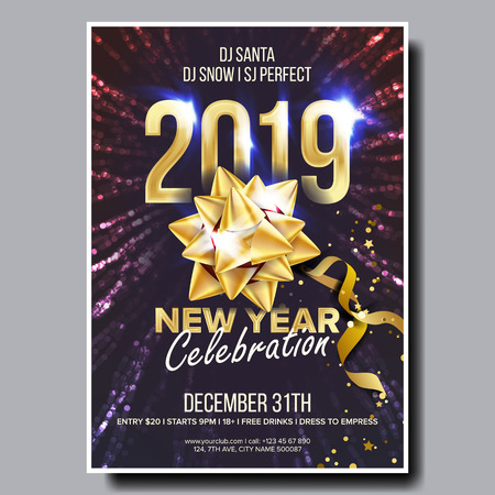 2019 Party Flyer Poster Vector. Happy New Year. Night Club Celebration. Musical Concert Banner. Design Illustration