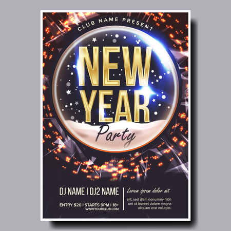 2019 Party Flyer Poster Vector. Happy New Year. Celebration Template. Winter Background. Design Illustration Vettoriali