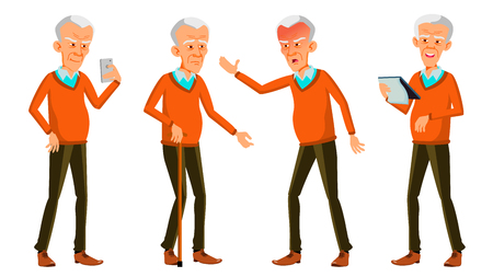 Old Man Poses Set Vector. Asian. Elderly People. Senior Person. Aged. Positive Pensioner. Advertising, Placard, Print Design Isolated Cartoon Illustration