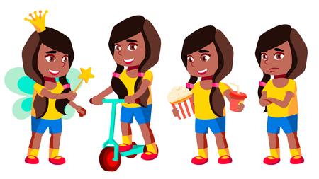 Girl Kindergarten Kid Poses Set Vector. Black. Afro American. Preschool, Childhood. Smile. Toys. For Web, Poster, Booklet Design Isolated Cartoon Illustration