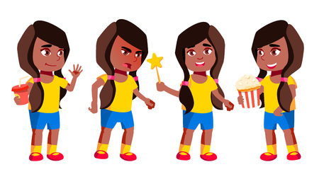 Girl Kindergarten Kid Poses Set Vector. Black. Afro American. Pretty Positive Baby. Leisure. For Postcard, Announcement, Cover Design.Isolated Cartoon Illustration