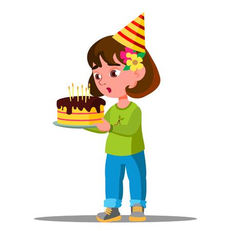 Kid soufflant des bougies sur le vecteur de gâteau de vacances. Illustration Vecteurs