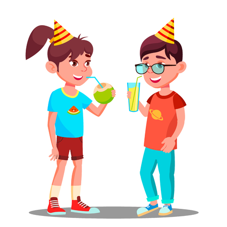 Children Drink Juice At Party Vector. Illustration Illustration