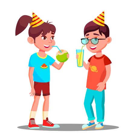 Los niños beben jugo en el vector de la fiesta. Ilustración