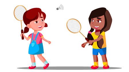 Children Playing Badminton On The Playground Vector. Girls. Isolated Illustration Illustration