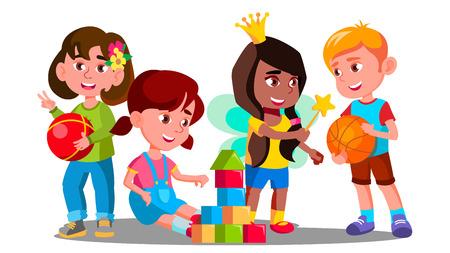 Grupo de niños jugando con juguetes de colores en el vector de piso. Ilustración Ilustración de vector