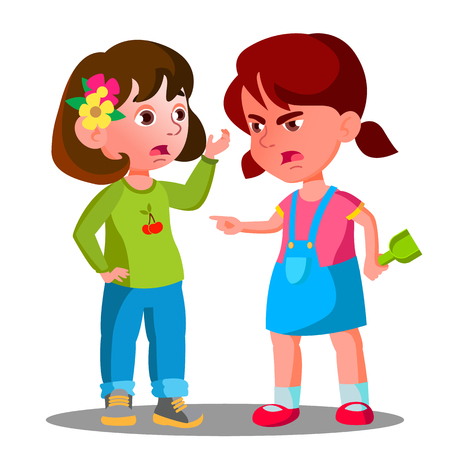 Conflict Between Kids, Girls Children Are Fighting Vector. Isolated Illustration