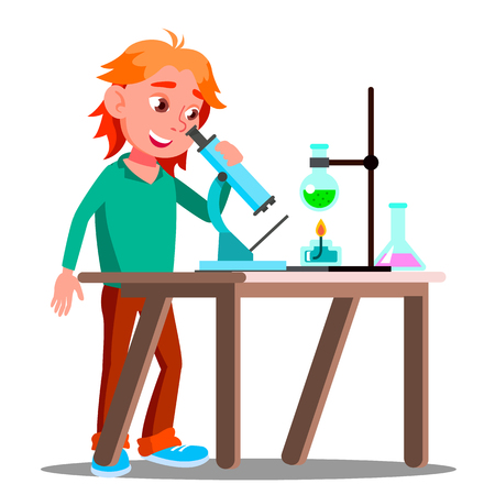 Curious Child Using A Microscope In School Vector. School. Education. Illustration Vektorgrafik