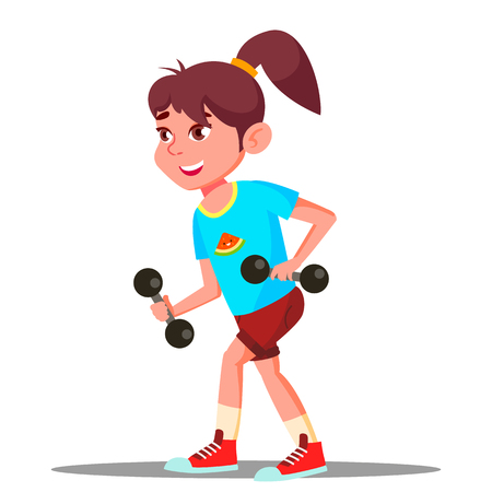 Girl Engaging In Fitness Vector. Sport. Healthy Illustration