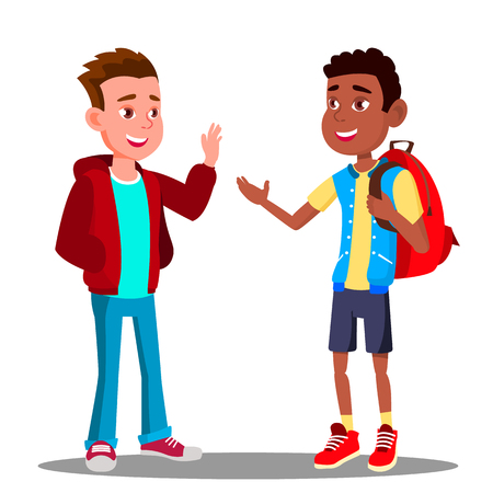 Caucasian Boy And Black Boy Greet Each Other, Friendship Vector. Multiracial. European And Afro American. Isolated Illustration
