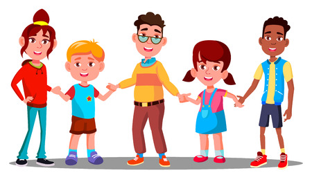 Group Of Children Holding Hands Together Vector. Multiracial. European And Afro American. Illustration