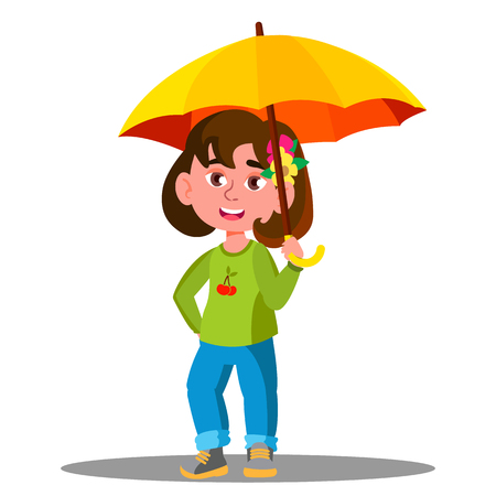 Cheerful Child With Yellow Umbrella In The Rain Vector. Illustration