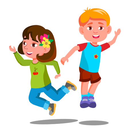 Un gruppo di bambini felici stanno saltando insieme vettore. Illustrazione