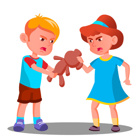 Two Children Quarrel Over A Toy Vector. Illustration Vectores