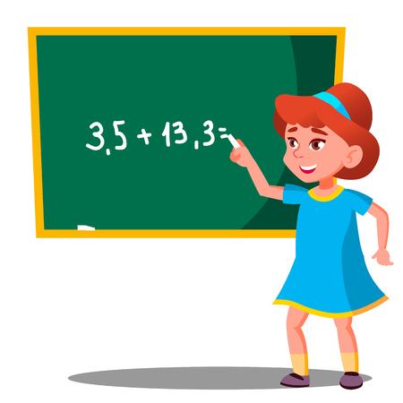 Schoolgirl Solves A Mathematical Problem At The Blackboard Vector. Illustration