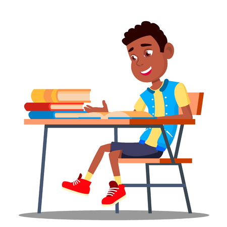 Little Pupil At A Desk Reading Book In The Classroom Vector. Black, Afro American. Illustration