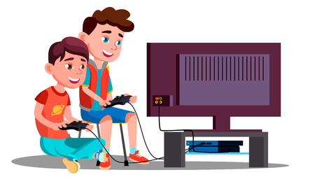 Two Children Boy Play A Video Game Vector. Illustration