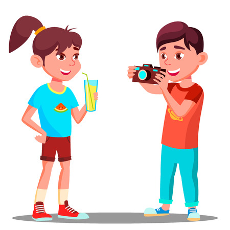 Little Boy Takes A Picture Of A Beautiful Girl Vector. Illustration