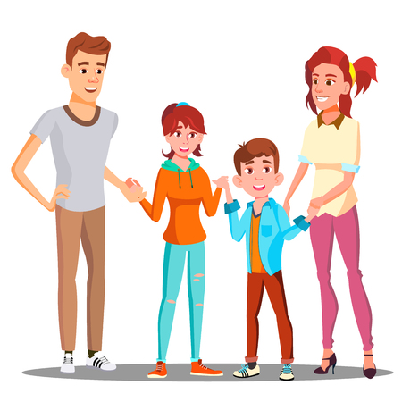 Happy Child Holding Hands With Parents Vector. Illustration