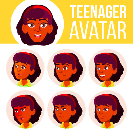Teen Girl Avatar Set Vector. Indian, Hindu. Asian. Face Emotions. User, Character. Cheer, Pretty. Cartoon Head Illustration