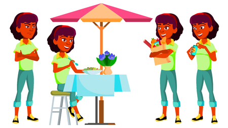 Teen Girl Poses Set Vector. Indian, Hindu. Asian, Positive. For Presentation, Print, Invitation Design. Isolated Cartoon Illustration