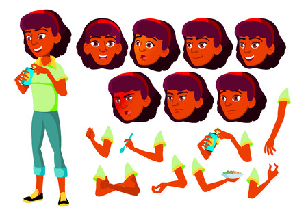 Teen Girl Vector. Indian, Hindu. Asian. Teenager. Face. Children. Face Emotions, Various Gestures. Animation Creation Set. Isolated Flat Cartoon Character Illustration Stock Photo